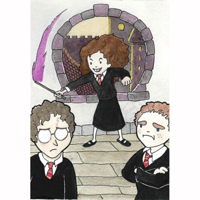 Hermoine Granger shows off a spell to Harry Potter and Ron Weasely